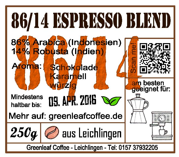 86/14 Espresso Blend Sticker greenleafcoffee.de